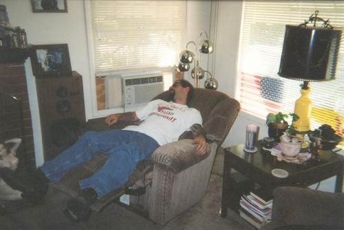 Me sleeping on recliner picture